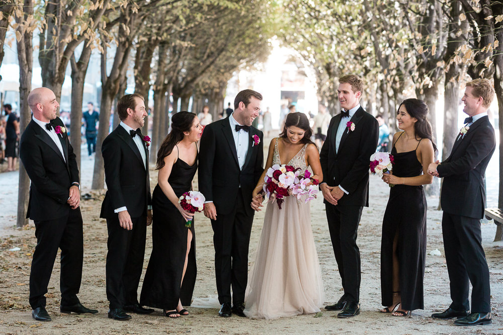 Bridal party photos in Paris