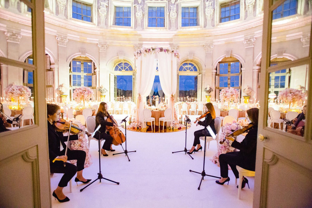 Orchestra playing in wedding reception room before the guests walk in