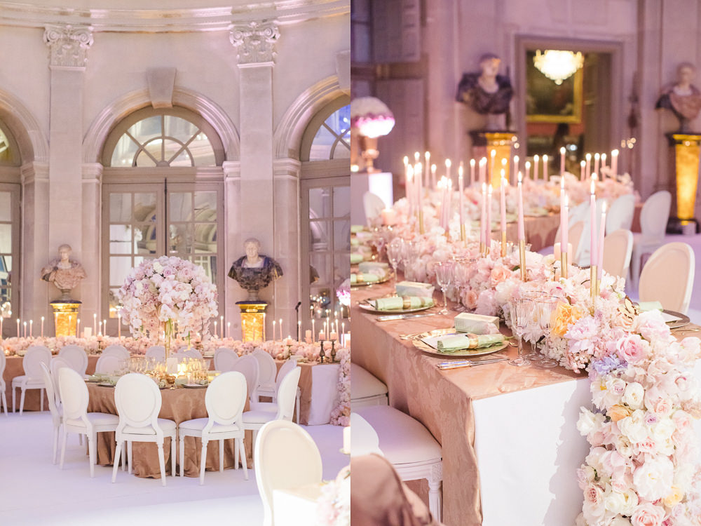 Paris chateau wedding at Vaux le Vicomte - Floral design with candles and macarons