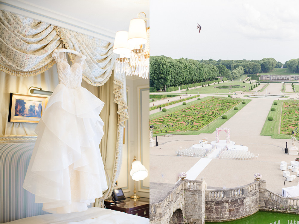 Wedding dress and ceremony setup for French Chateau Wedding