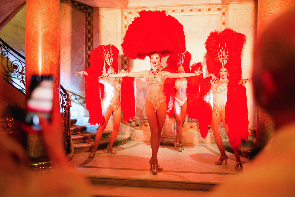Moulin Rouge Cabaret dancers for rehearsal dinner in Paris