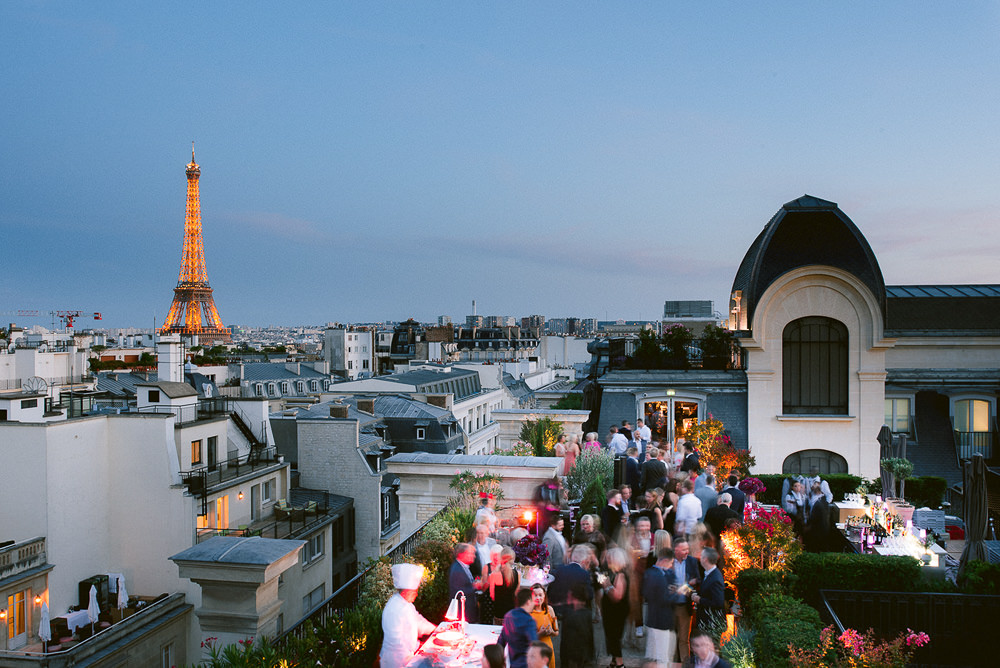 Destination wedding in Paris, France at The Peninsula overwiewing the Eiffel Tower at night
