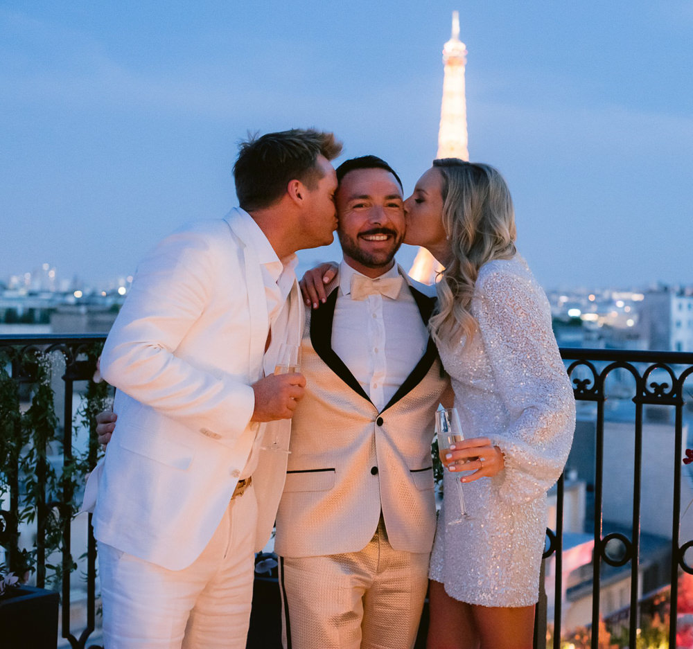French wedding planner Jean-Charles Vaneck kissed by bride and groom