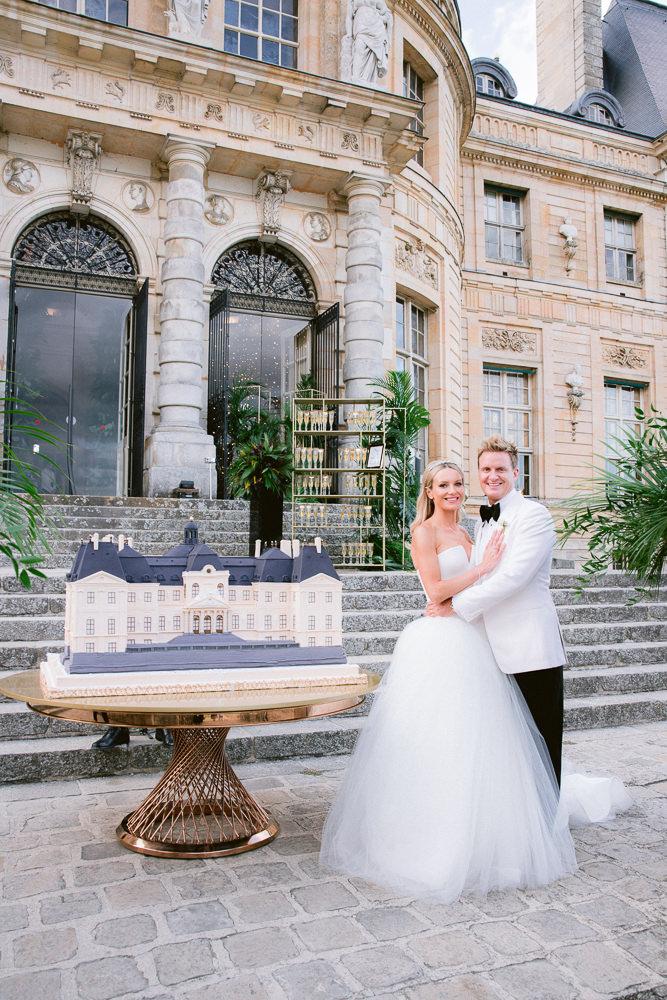 Luxury wedding cake at French chateau wedding