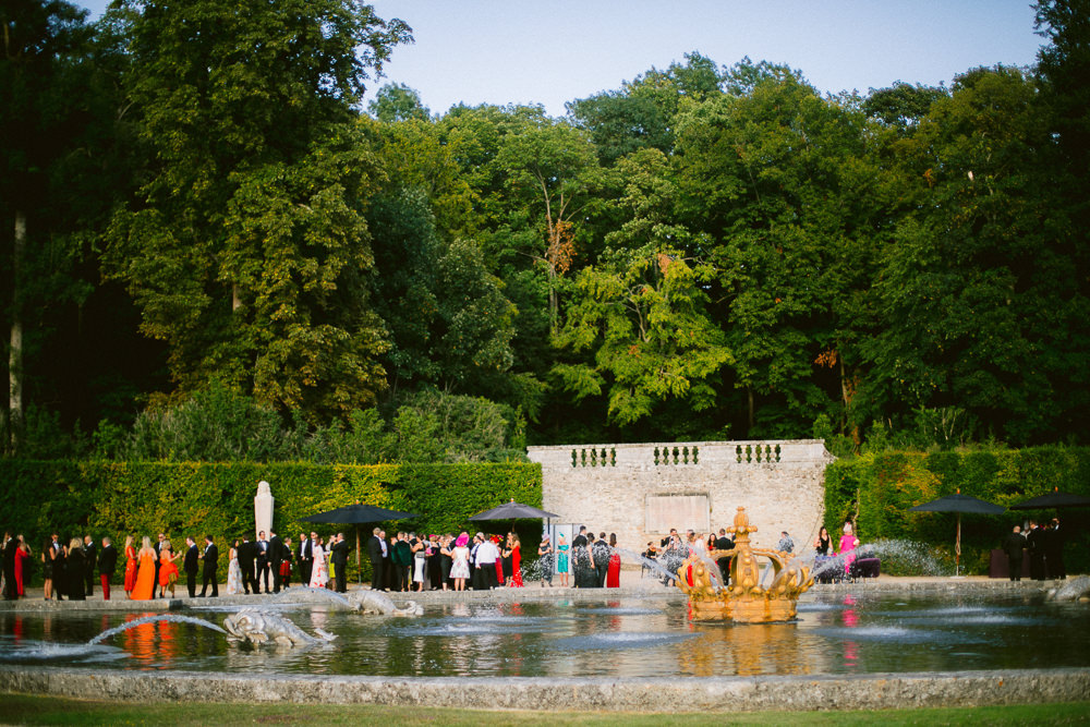 Wedding party in French chateau gardens