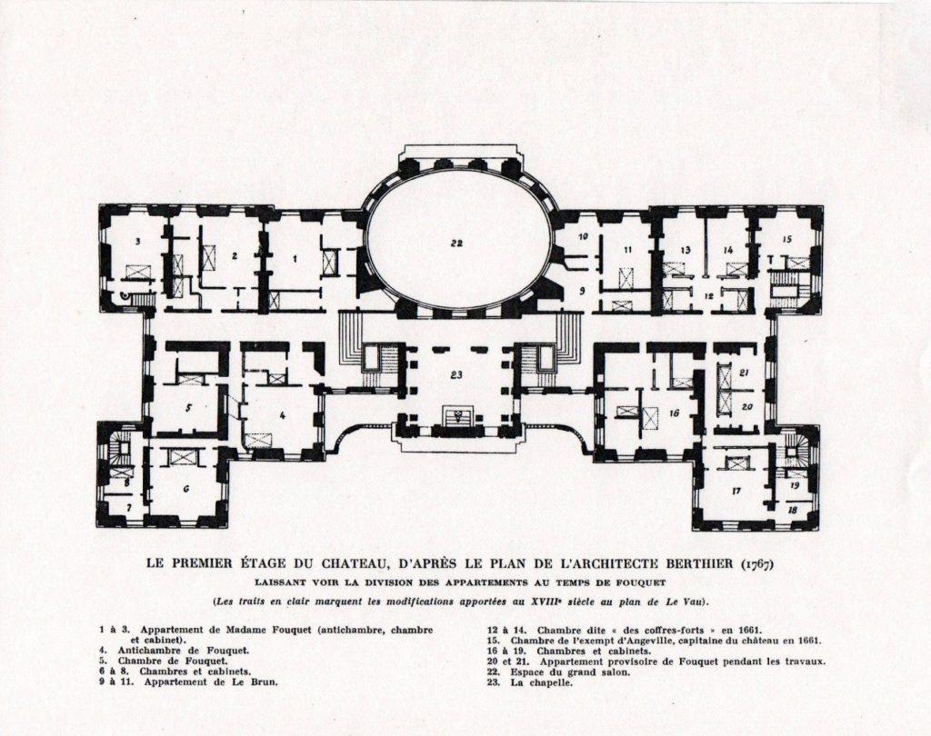 Chateau Vaux le Vicompte architectural map