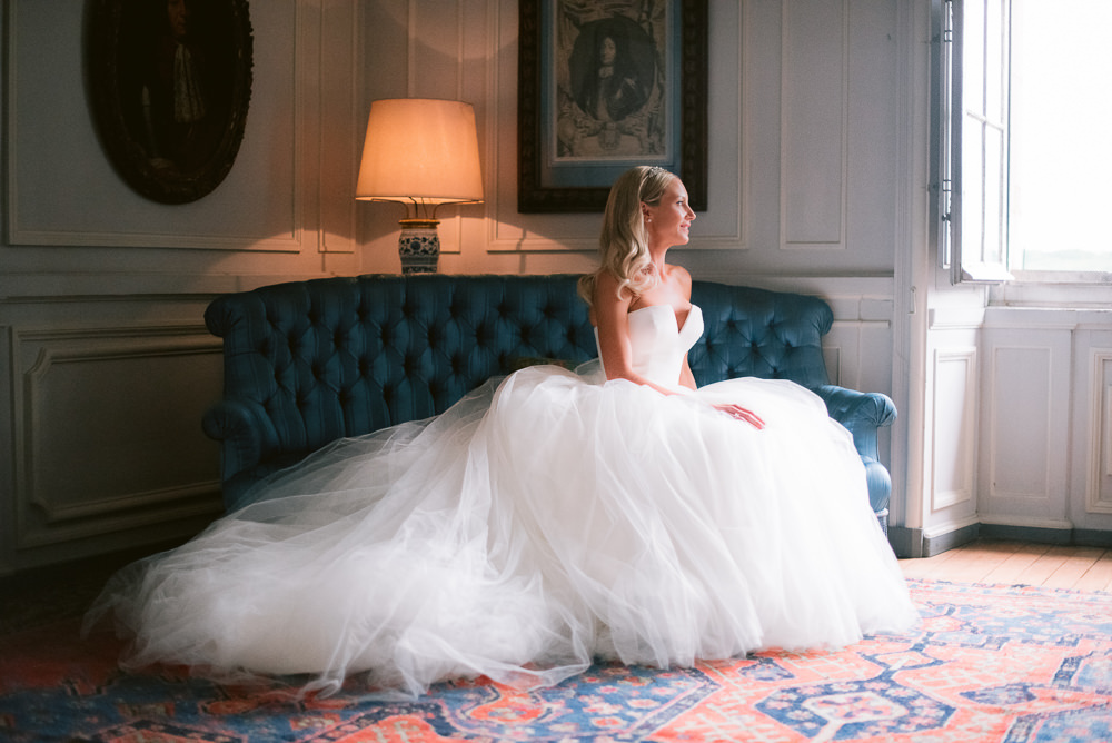 Bride getting ready for her Vaux le Vicomte wedding