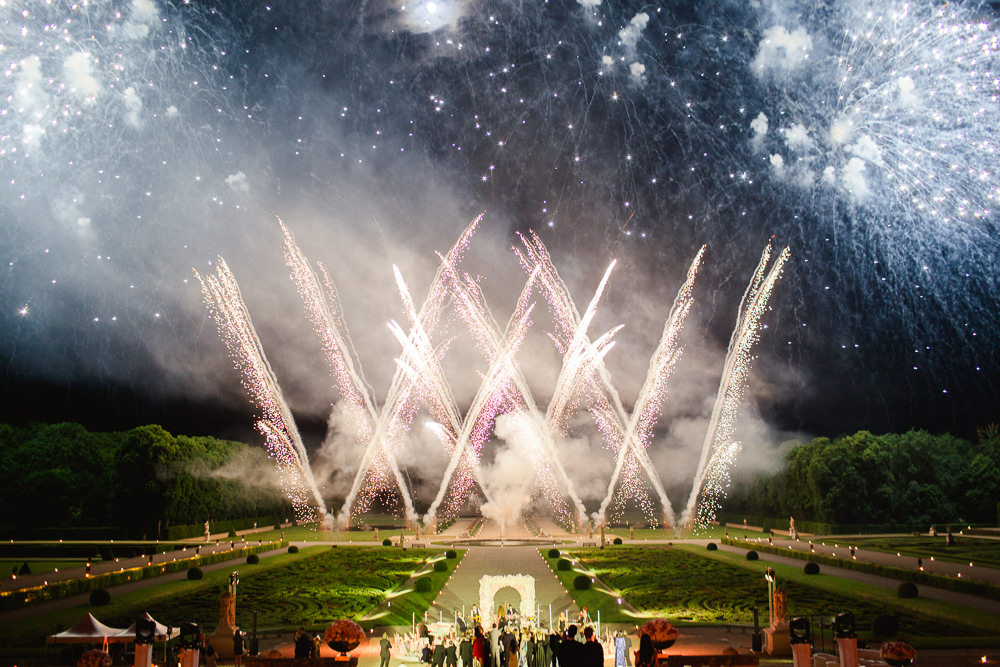 Fireworks at a wedding in French chateau