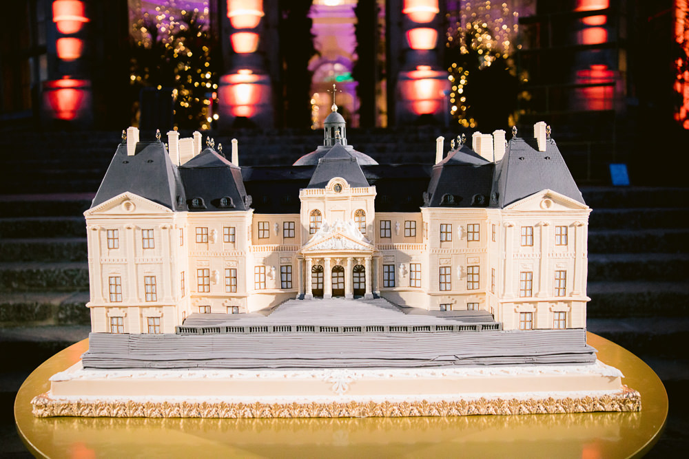 Luxury wedding cake design in the shape of a French chateau