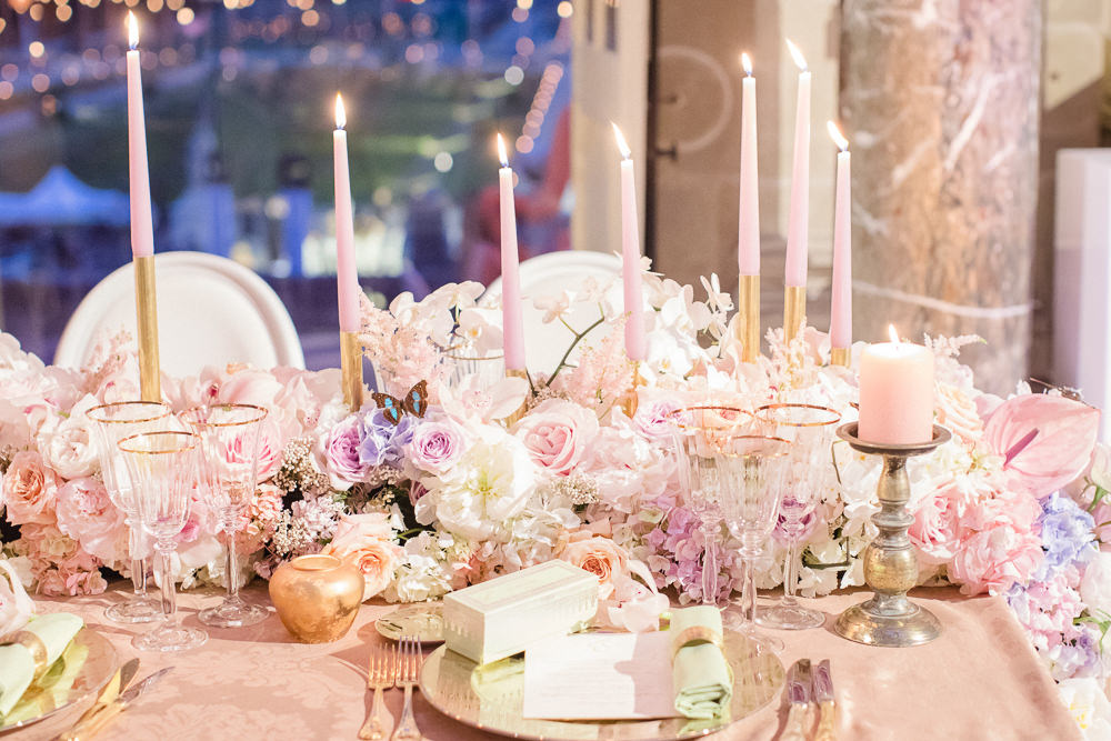 Floral setup for wedding reception - by Sumptuous Events